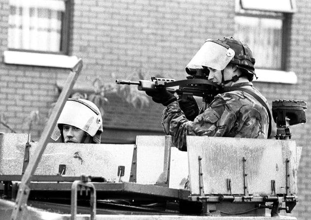 Soldiers on patrol in west Belfast. PA image