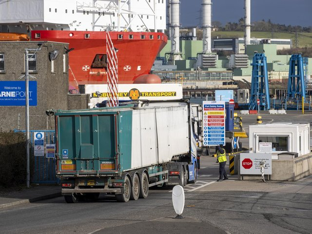 A lorry arrives at Larne Port.