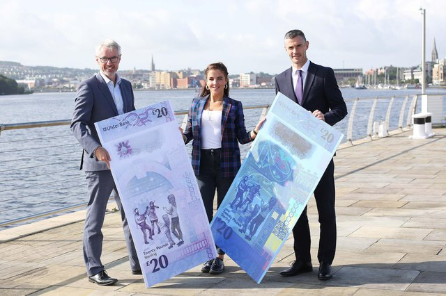 Actress Jamie Lee O'Donnell, from Derry, who helped Ulster Bank launch the design of the new £20 note at the bank's Culmore Road branch back in 2019. She is pictured with Terry Robb, left, Ulster Bank's Head of Personal Banking and Chris McGuinness, Local Director. The notes have gone on to be named as one of the world's best bank notes in 2020.