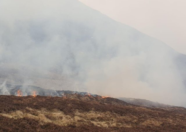 Firefighters have been tackling this large blaze near Bloody Bridge in the Mourne Mountains since the early hours of this morning, Friday April 23.