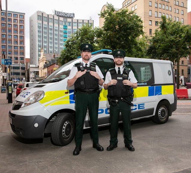 Police Service of Northern Ireland officers on patrol in Belfast's Linen Quarter
