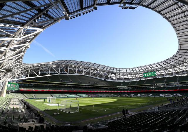 File photo dated 11-10-2020 of General view of the Aviva Stadium, Dublin.