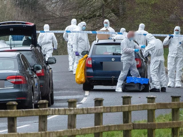 PSNI forensic officers pictured at the scene earlier this week.