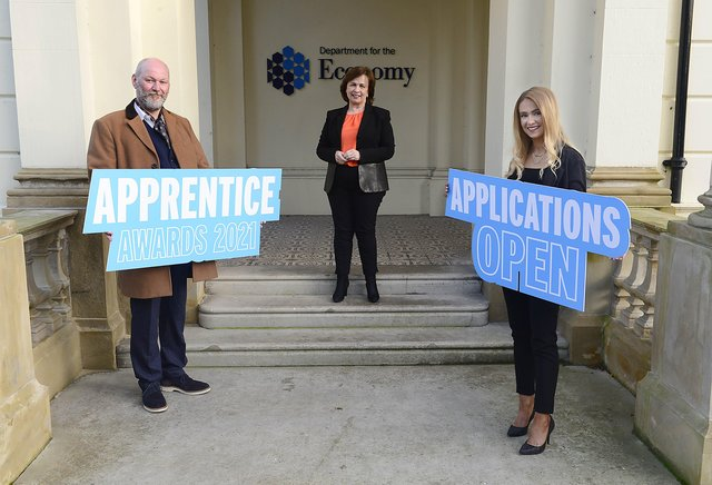 Economy Minister Diane Dodds with Will Bradley and Colleen O'Boyle, joint winners of the Higher Level Apprentice of the Year 2020