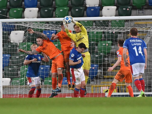 Chris Johns in action for Linfield
