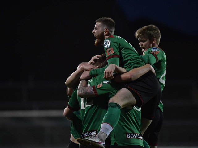 Glentoran celebrate going 3-2 up after Fuad Sule's own goal