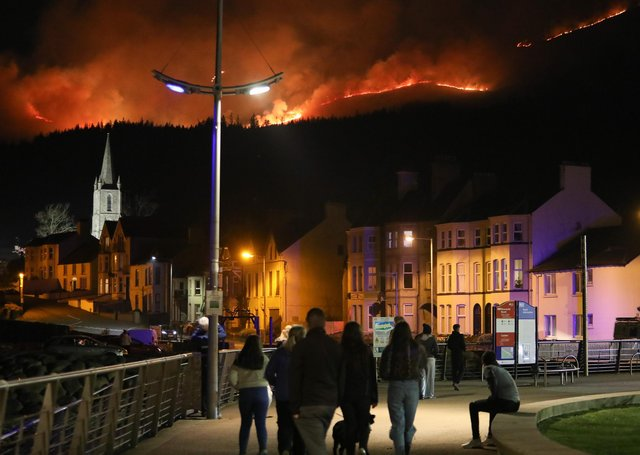 Press Eye - Belfast - Northern Ireland - 23rd April 2021A gorse fire spreads across the Mourne Mountains overlooking Newcastle, Co Down.