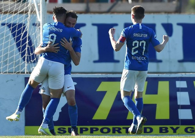 Glenavon celebrate during Saturday's 3-2 win over Linfield. Pic by Pacemaker.