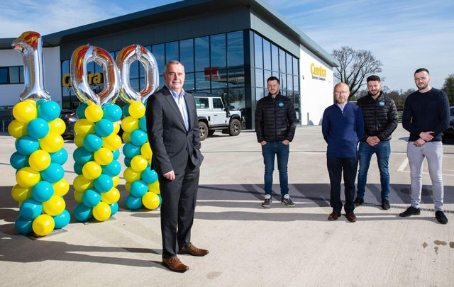 Musgrave Managing Director Trevor Magill with store owners, the Conway family: Declan, Marti, Daniel and Peter