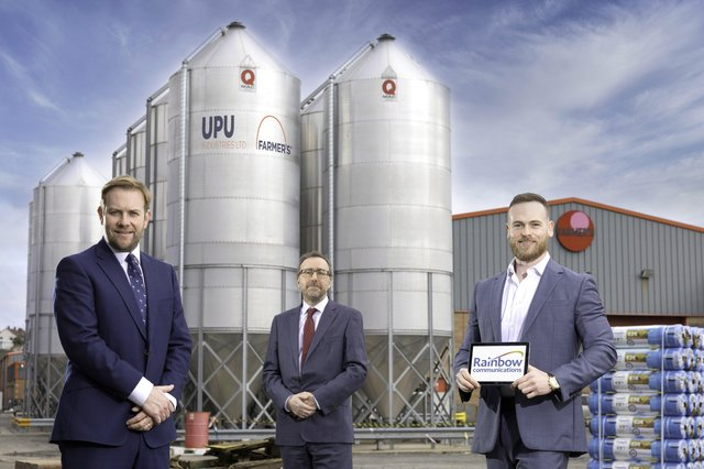 Stuart Carson and David Beatty, Rainbow Communications and Harry Orr, Commercial Manager UPU Industries