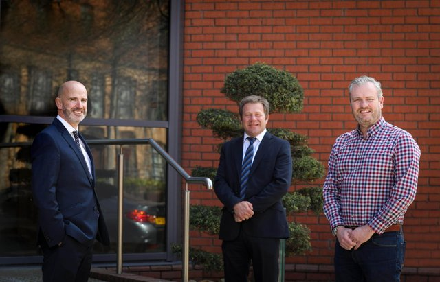 Damien Long, Relationship Director and Kenton Hilman, Head of Corporate and Property at Ulster Bank with Gary Adams, Chief Financial Officer at Totalmobile