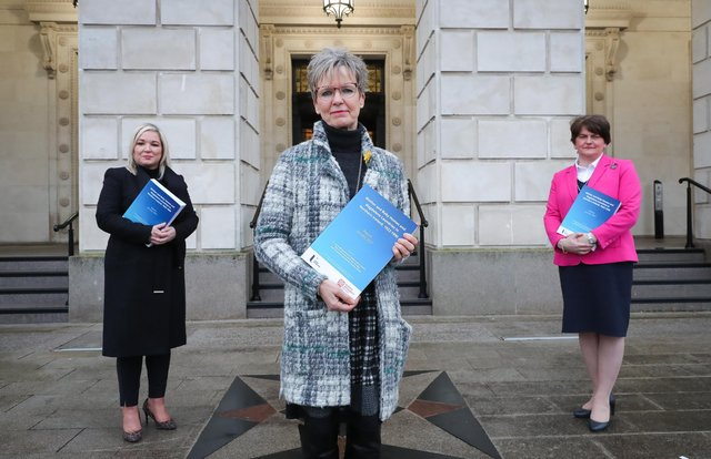 First Minister Arlene Foster and Deputy First Minister Michelle O'Neill pictured with Judith Gillespie, the Independent Chair of the inter-Departmental working group on Mother and Baby Homes, Magdalene Laundries and Historical Clerical Child Abuse at the publication of the research report in January