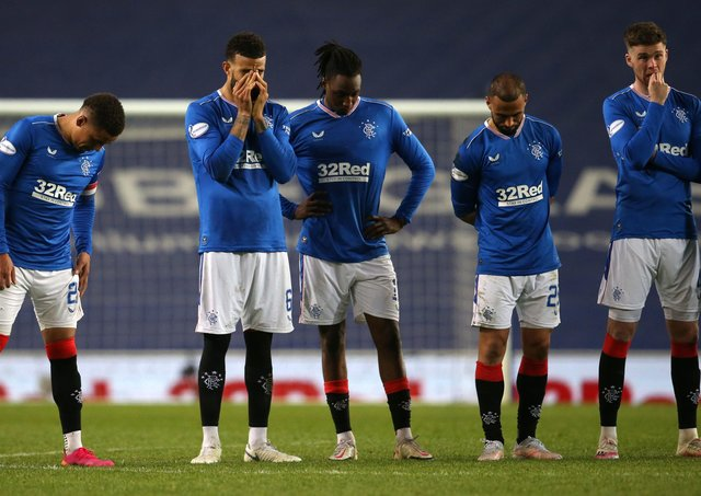 Rangers players react during the Scottish Cup quarter-final exit on Sunday. Pic by PA.