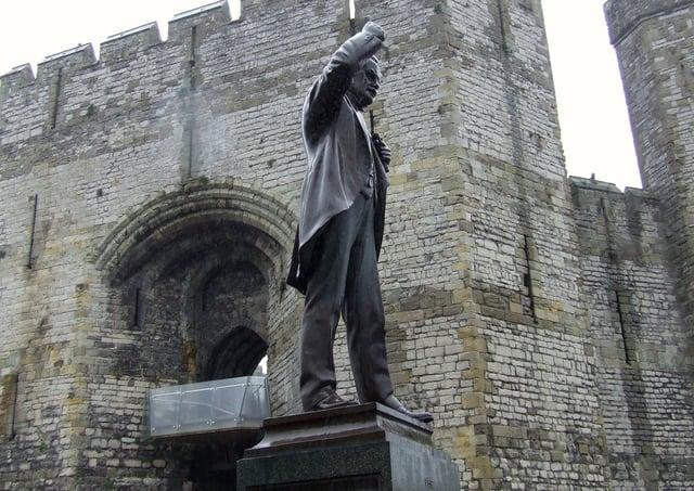 David Lloyd George statue next to Caernarfon Castle, Wales