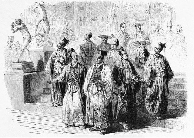 The members of the Japanese Embassy visiting the 1862 International Exhibition in London, from the Illustrated London News