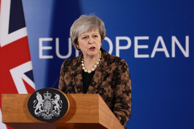 The then Prime Minister Theresa May in Brussels in 2018 talks about the controversial Irish border backstop that she agreed in late 2017.  Photo by Dan Kitwood/Getty Images