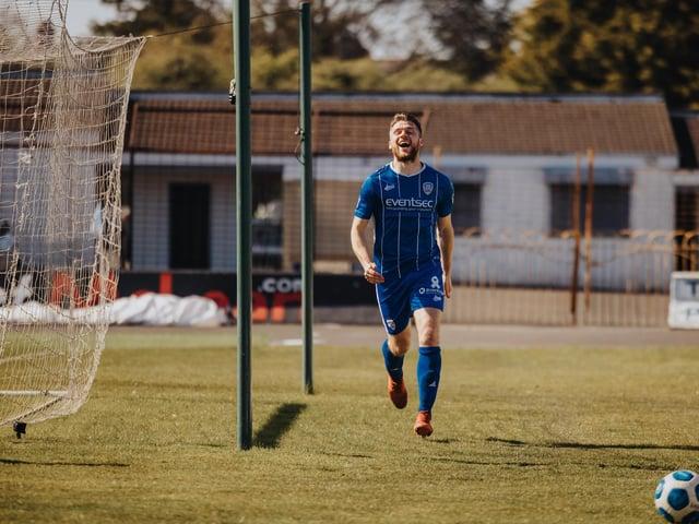Stephen Lowry wheels away after putting Coleraine 2-0 ahead against Ballymena United. PICTURE: David Cavan