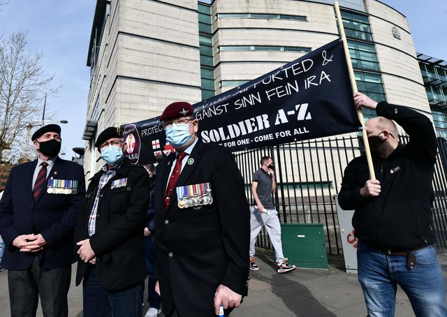 Supporters  of two former paratroopers at Laganside Court on Monday, The  paratroopers are accused of the murder of Official IRA man Joe McCann in 1972. Pic: Colm Lenaghan/Pacemaker