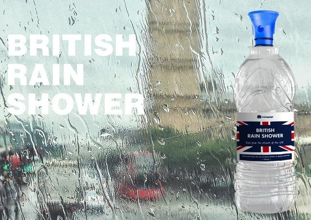 The bottled rainwater is being sold for £20 on the My Baggage website