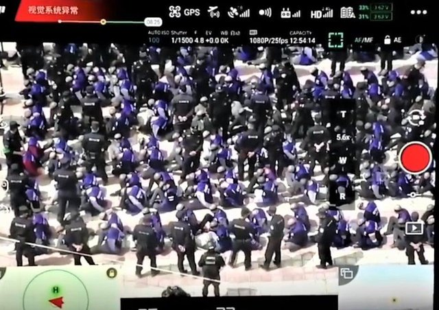 Footage obtained by Sky News, which it says shows Uyghurs in 'mass detention' in China