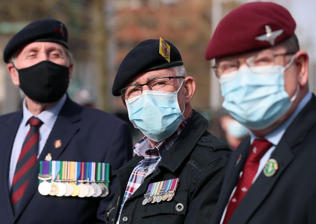 Veterans and supporters of the two paratroopers pictured at the court. Picture by Jonathan Porter/PressEye