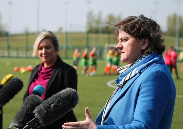 First Minister Arlene Foster (right) and Deputy First Minister Michelle O'Neill.