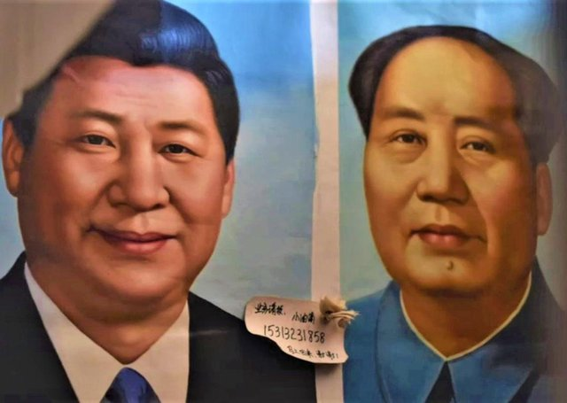 A still from a BBC report on Chinese treatment of the Uyghurs, depicting current Chinese leader Xi Jinping (left) and former dictator Chairman Mao