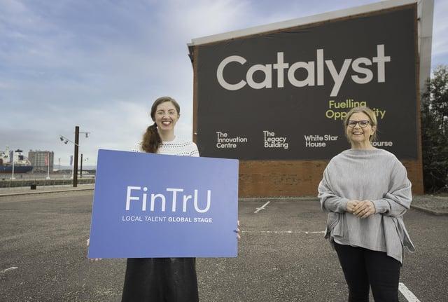 FinTrU CTO Emma Pollock and Catalyst Programmes Director Elaine Smyth mark the start of the new partnership between the organisations