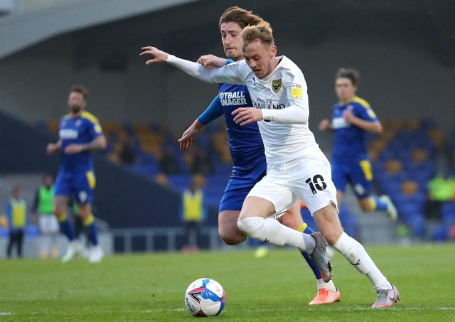 Mark Sykes on show for Oxford United against AFC Wimbledon in Sky Bet League One. Pic by Getty.