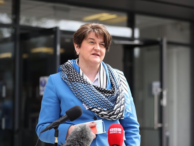 Northern Ireland's First Minister Arlene Foster answers questions on her leadership during a visit to the Hammer Youth Centre, in Belfast.