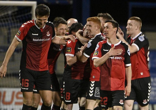 Paul Heatley (second right) and Crusaders team-mates celebrate his goal against Coleraine. Pic by PressEye Ltd.