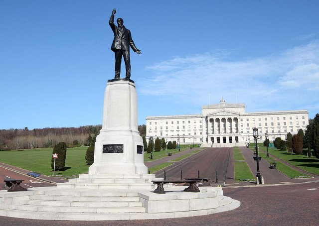 The statue of Lord Carson outside Stormont