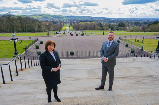 Minister for the Economy Diane Dodds and Business Development Director of PAC Group Darren Leslie outside Stormont