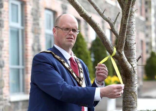 Mayor Cllr Jim Montgomery on National Day of Reflection.