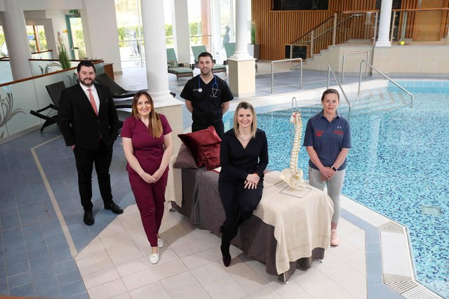 Eóin McGrath, Luxury Leisure Sales Manager of Hastings Hotels and Lisa Steele, General Manager of the Culloden Estate & Spa are joined by Emma Kennedy of Glow Aesthetics, Dr Gareth Patterson of Holywood Private Clinic and Lynda Brudenell of Room One Physiotherapy & Sports Injuries Clinic