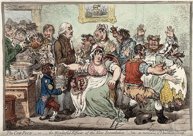 Edward Jenner vaccinating patients against smallpox. Picture: Wellcome Collection