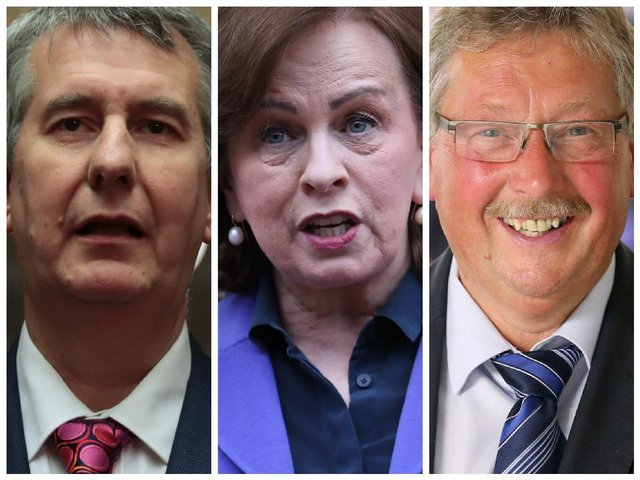 Left to right, Edwin Poots, Diane Dodds and Sammy Wilson.