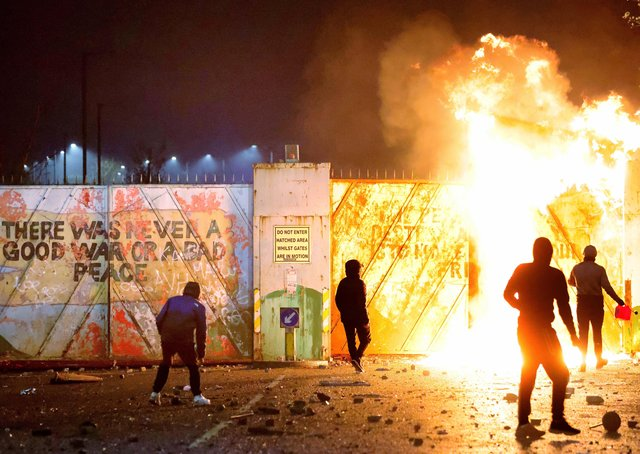 Some of this month's rioting involving both loyalist and republican factions at Lanark Way, next to Cupar Way, one of the main north-west Belfast interfaces
