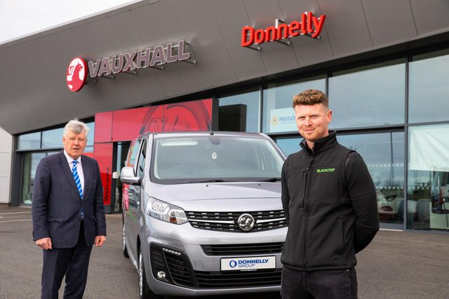 Coalisland tarmac specialist Daniel Coleman with Terence Donnelly, Chairman of Donnelly Group