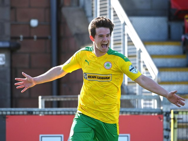 Cliftonville's Michael McCrudden celebrates scoring against Crusaders. Picture by Stephen Hamilton/Inpho