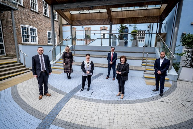 Gary Middleton, MLA for Foyle, Selina Horshi, Managing Director, White Horse Hotel, Dawn McLaughlin, President, Londonderry Chamber, Paul Clancy, Chief Executive, Londonderry Chamber, Diane Dodds MLA, Minister for the Economy and Paul Curtis, Partner, Curtis Opticians