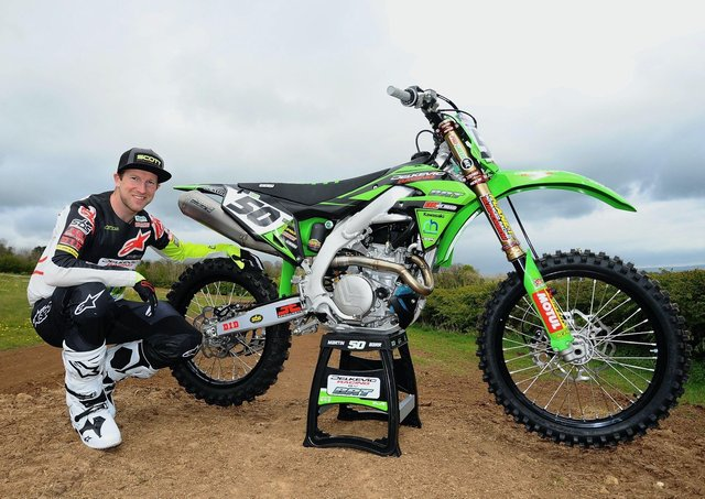 Martin Barr pictured with the Delkevic racing by BRT kxf450 Kawasaki he will race this season.