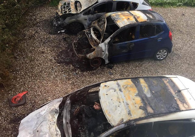 Damage caused after  an arson attack on the home of the serving police officer in Larne.  Pic Colm Lenaghan/Pacemaker