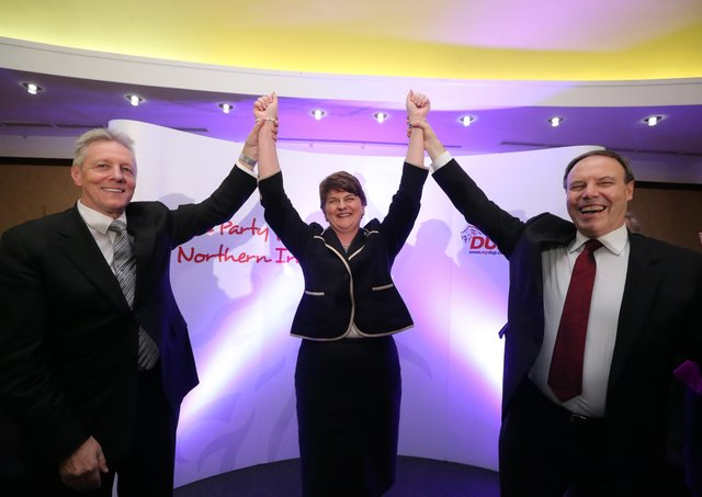 Peter Robinson (left) with Nigel Dodds as Arlene Foster was anointed DUP leader in December 2015