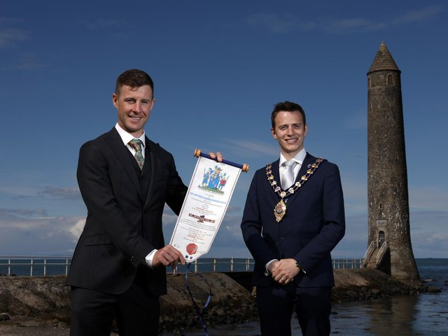 Dr Jonathan Rea MBE and the Mayor of Mid and East Antrim, Councillor Peter Johnston.