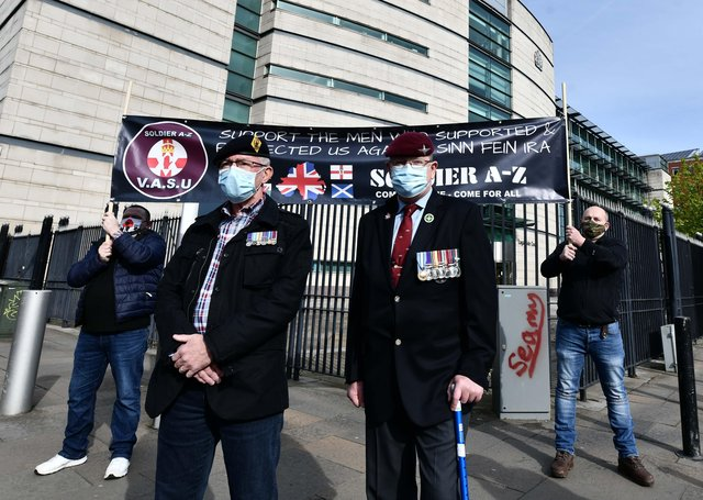 Supporters of two former paratroopers outside court in Belfast earlier this week
