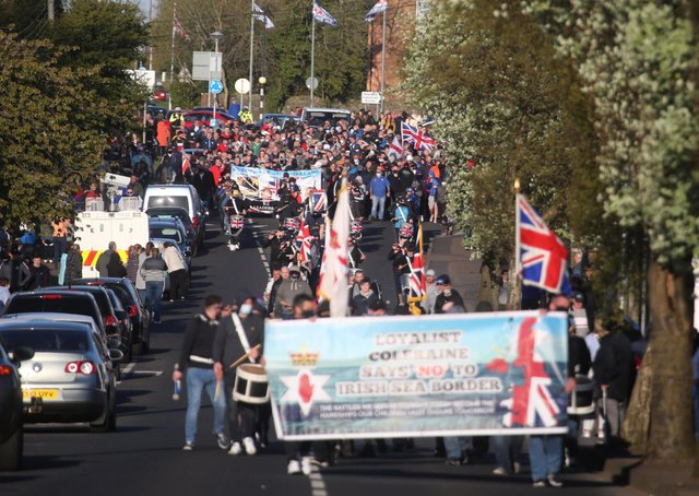 A Loyalist protest gets under way in Coleraine on Friday evening in Protest at what organisers say is an Irish Sea Border and two tier policing. Photo: McAuley Multimedia 30 April 2021