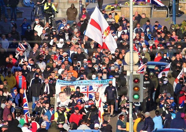 A loyalist protest gets under way in Coleraine on Friday evening in protest at what organisers say is an Irish Sea Border and two tier policing.