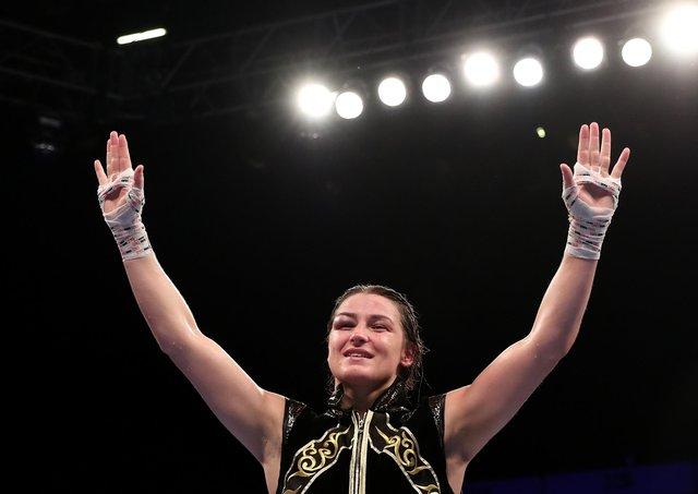Katie Taylor celebrates victory. (Photo by Jan Kruger/Getty Images)