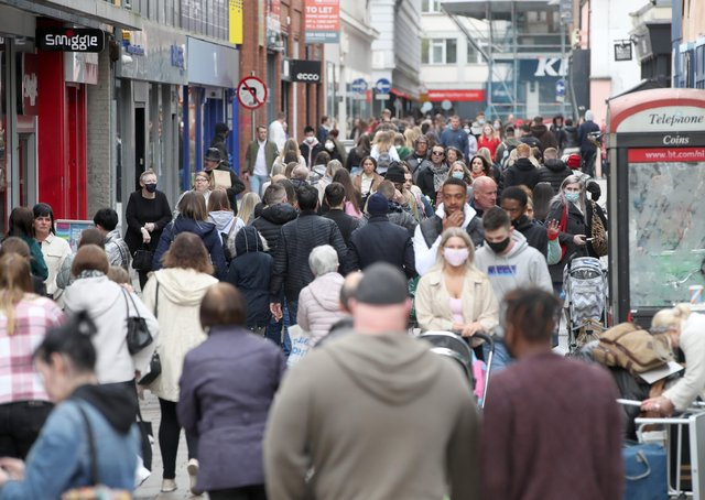 Shoppers return to the streets of Belfast City Centre following the removal of Corona Virus restrictions.